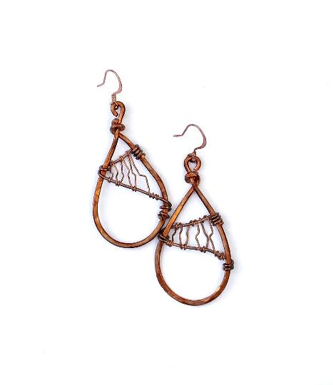 Unique Hammered Copper Earrings