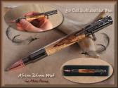 African Zebrawood 30 Cal Bolt Action Rifle Pen Gun Metal Plating handmade from the wood lathe