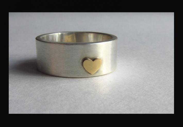 Wide Sterling Silver Band 14k Gold Heart Ring