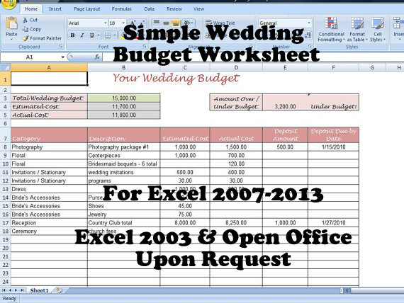 Printable Wedding Budget Template For Your Planning Binder