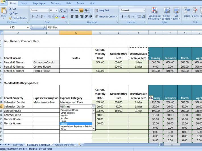rent template excel
