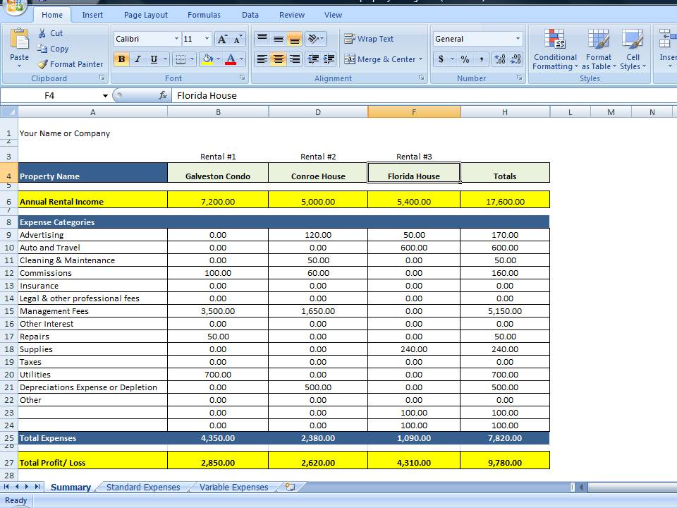 Property Management Spreadsheet Excel Template for Tracking Rental – Income and Expenses Worksheet