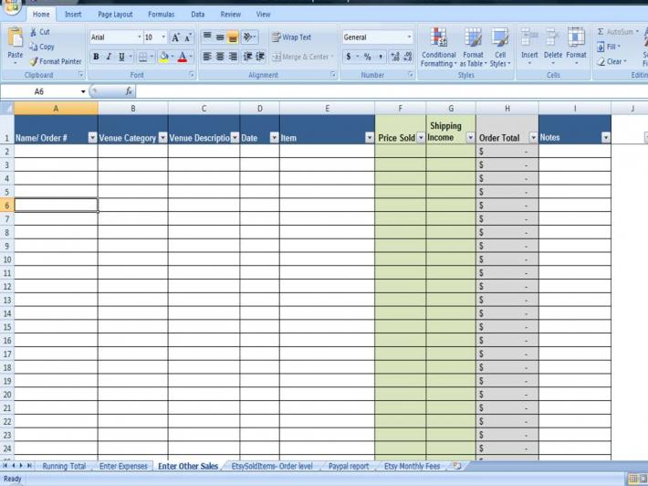 Business Financial Printables Shop Sales and Expenses Spreadsheet