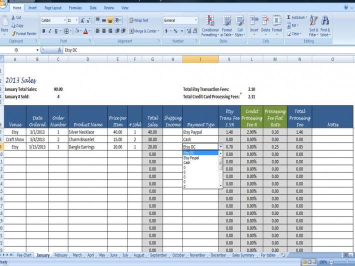 Sales Log Multi Venue Monthly Sales Organizer