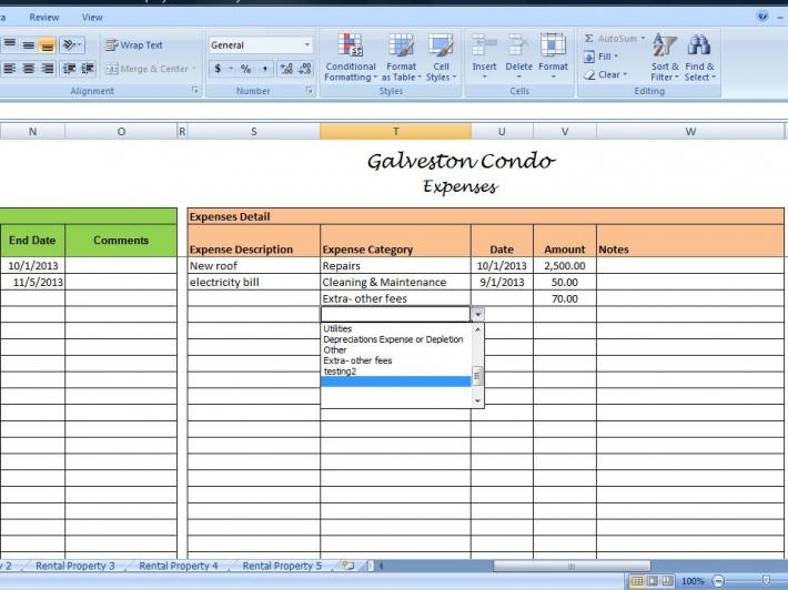 Landlords Spreadsheet Template Rent and Expenses Worksheet for – Rental Expense Worksheet