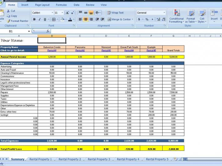 landlords spreadsheet template rent and expenses worksheet for short