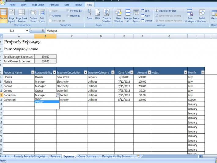 Property Managers Template Rent Income and Expense Tracking Spreadsheet For Managers with Multi Owner Properties