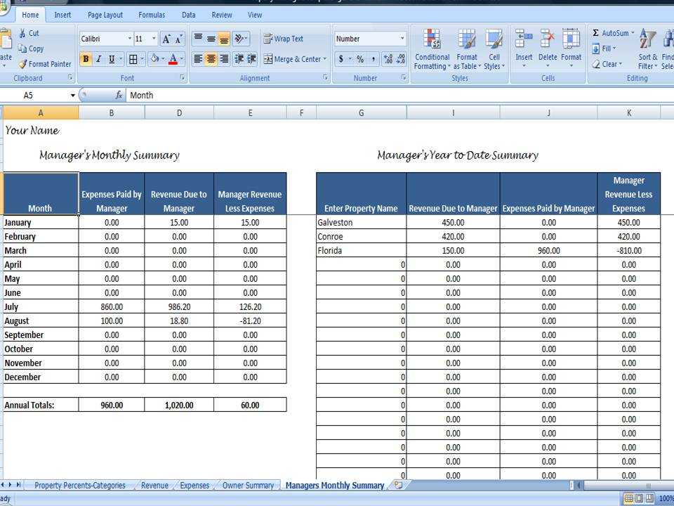 rental property spreadsheet template
