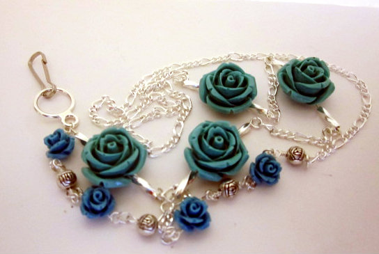 Blue Roses Three in One Necklace Eyeglass Holder Badge Necklace Pendant by Bluerosedreamer