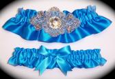 Regal Aegean Blue Satin Wedding Garter Set