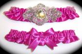 Regal Azalea Pink Satin Wedding Garter Set