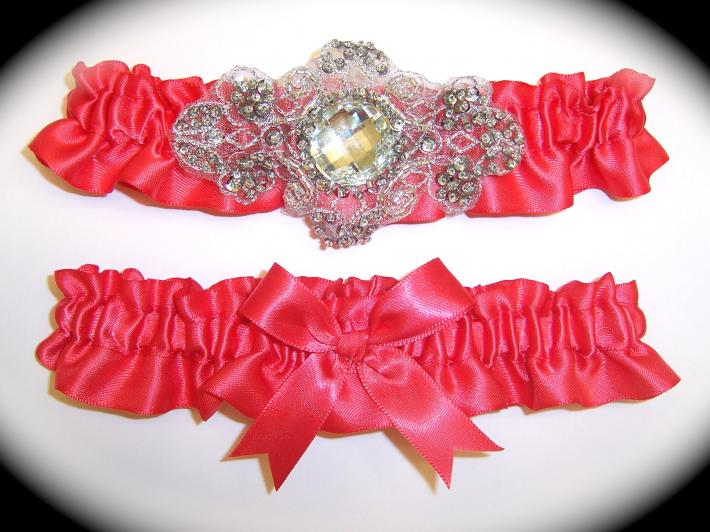 Regal Bright Coral Satin Wedding Garter Set