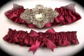 Regal Wine Burgundy Satin Wedding Garter Set