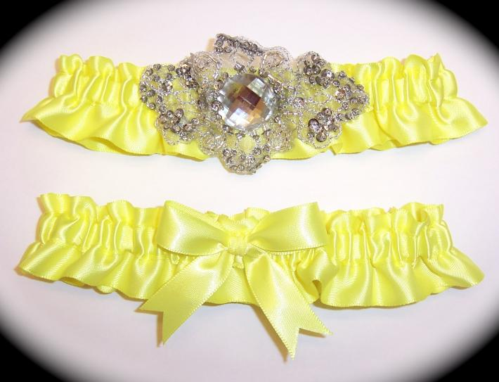 Regal Pineapple Yellow Satin Wedding Garter Set