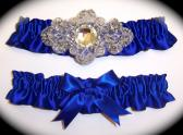 Regal Cobalt Blue Satin Wedding Garter Set