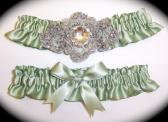 Regal Sage Willow Satin Wedding Garter Set