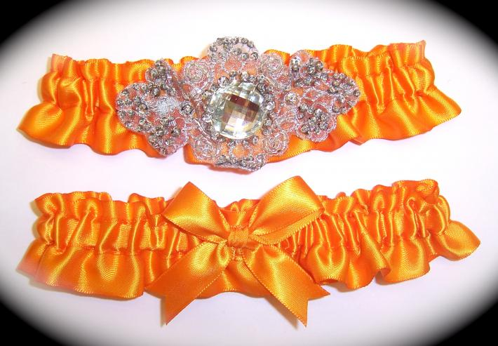 Regal Tangerine Orange Satin Wedding Garter Set