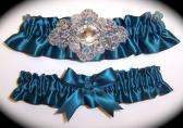 Regal Teal Satin Wedding Garter Set