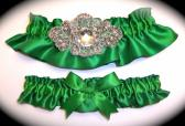 Regal Emerald Green Satin Wedding Garter Set