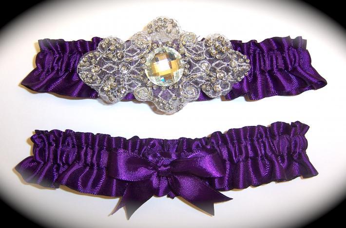 Regal Eggplant Purple Satin Wedding Garter Set