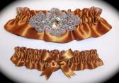 Regal Copper Satin Wedding Garter Set