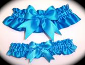 Aegean Blue BB Satin Wedding Garter Set