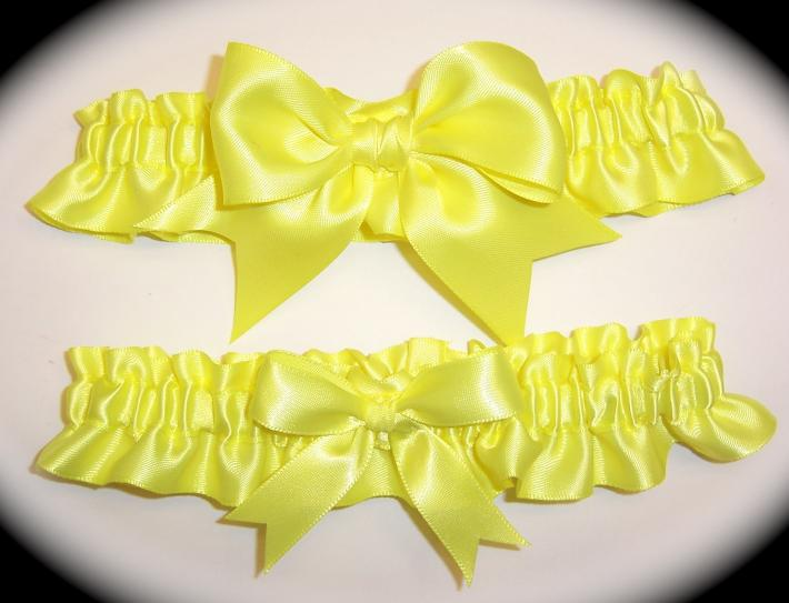 Pineapple Yellow BB Satin Wedding Garter Set