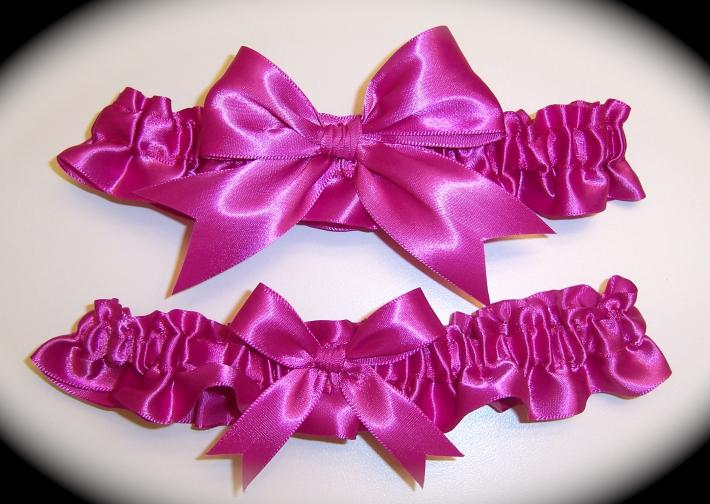 Azalea Pink BB Satin Wedding Garter Set