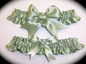 Sage Willow Green BB Satin Wedding Garter Set