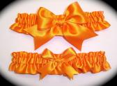 Tangerine Orange BB Satin Wedding Garter Set