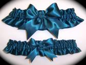 Teal BB Satin Wedding Garter Set