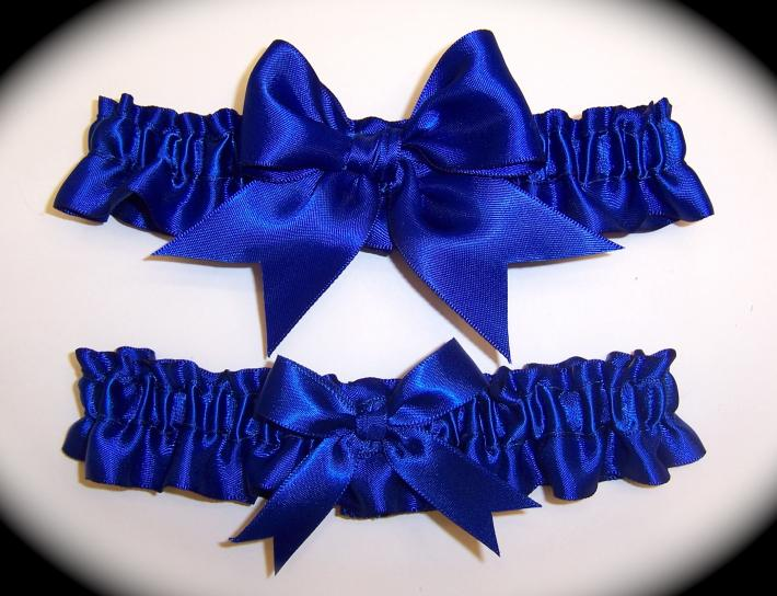 Cobalt Blue BB Satin Wedding Garter Set