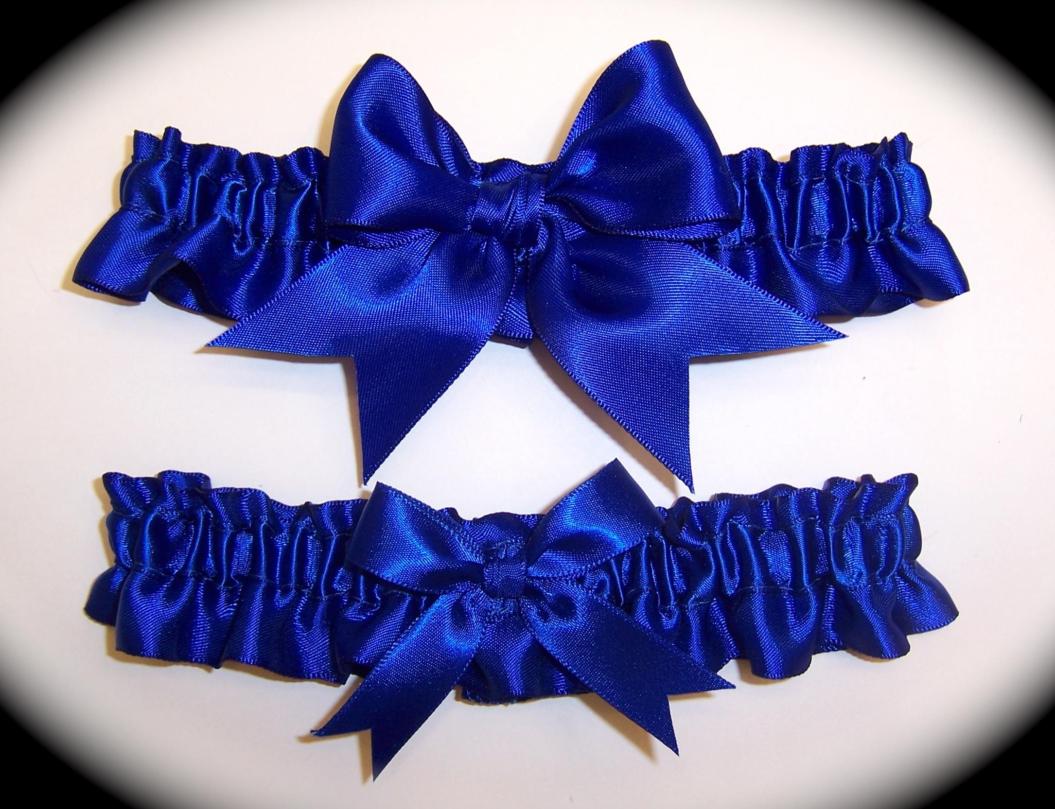 Cobalt Blue BB Satin Wedding Garter Set on Handmade Artists\' Shop