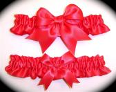 Bright Coral BB Satin Wedding Garter Set