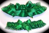 Emerald Green BB Satin Wedding Garter Set