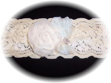 Ivory and Light Blue Lace Bridal Garter 1 503