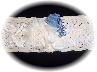 Ivory and Blue Lace Bridal Garter 1 504