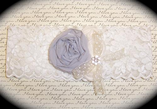 White and Light Blue Lace Bridal Garter 1 512