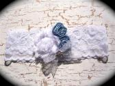 Classic White and Light Blue Lace Bridal Garter 1 518