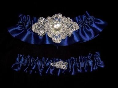 Regal Navy Satin Wedding Garter Set