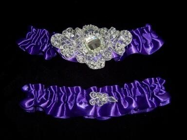 Regal Purple Satin Wedding Garter Set