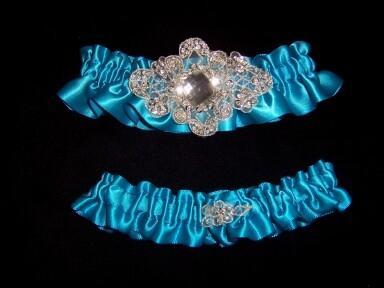 Regal Turquoise Satin Wedding Garter Set