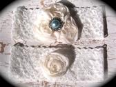 Ivory Lace Blue Pearl Garter Set 602