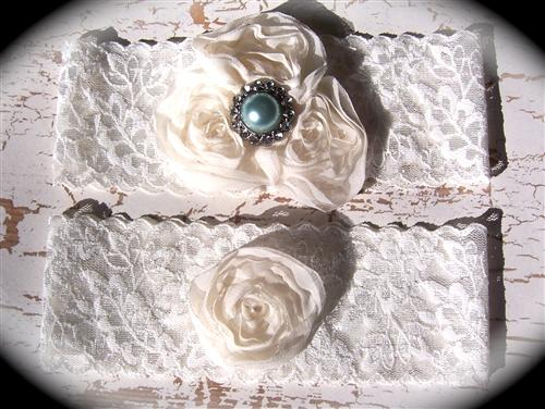 Ivory Lace Rose Trio Garter Set 605