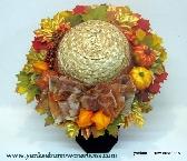 fall silk flower straw hat