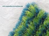 lime green and turquoise striped fun fur accent pillow