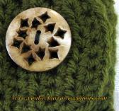 unisex hunter green crochet wrist cuff with natural bone button
