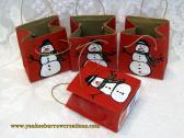 CHRISTMAS SPECIAL one penny will get you this handpainted gift bag with your 20 dollar purchase handpainted red gift bag with snowman