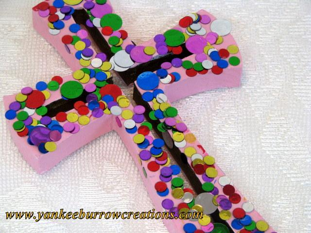 Confetti Pink Wooden Cross