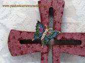 wood cross textured burgundy with metallic butterfly